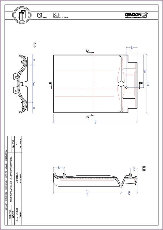 Fiser CAD produs PREMION Ţiglă cu proeminenţă  pentru aerisire coamă FALDWZ