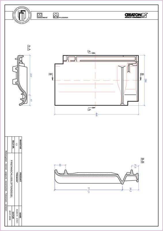 Fiser CAD produs PREMION Ţiglă aerisire pentru conexiune la coamă FALZ