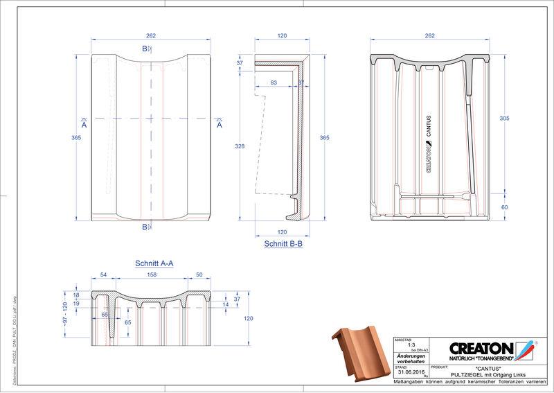 Fisier CAD produs CANTUS Ţiglă laterală stânga cu versant standard PULTOGL