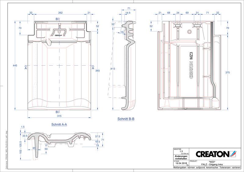 Fiser CAD produs MZ3 Ţiglă laterală de aerisire pentru conexiune la coamă  stânga FALOGL