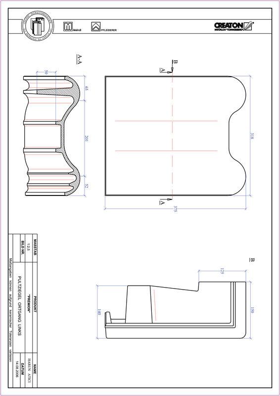Fiser CAD produs PREMION Ţiglă laterală stânga cu versant standard PULTOGL