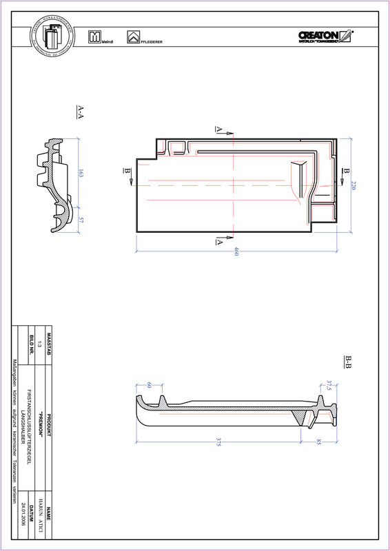 Fiser CAD produs PREMION Ţiglă 1/2 de aerisire pentru conexiune la coama FALLH