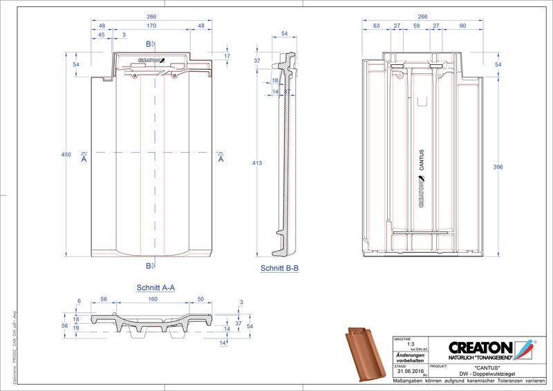 Fisier CAD produs CANTUS Ţiglă cu proeminenta dublă DWZ