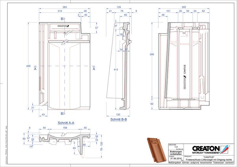 Fisier CAD produs CANTUS Ţiglă laterală dreapta de aerisire pentru conexiune la coamă   FALOGR