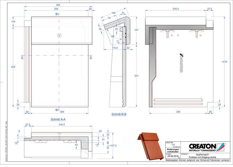 Fiser CAD produs KAPSTADT Ţiglă laterală dreapta cu versant standard PultOGR