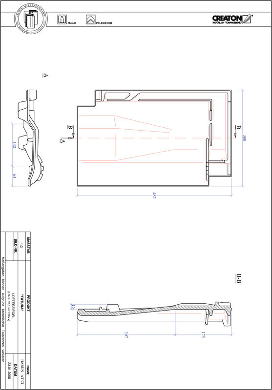 Fiser CAD produs FUTURA Ţiglă de aerisire LUEFTZ