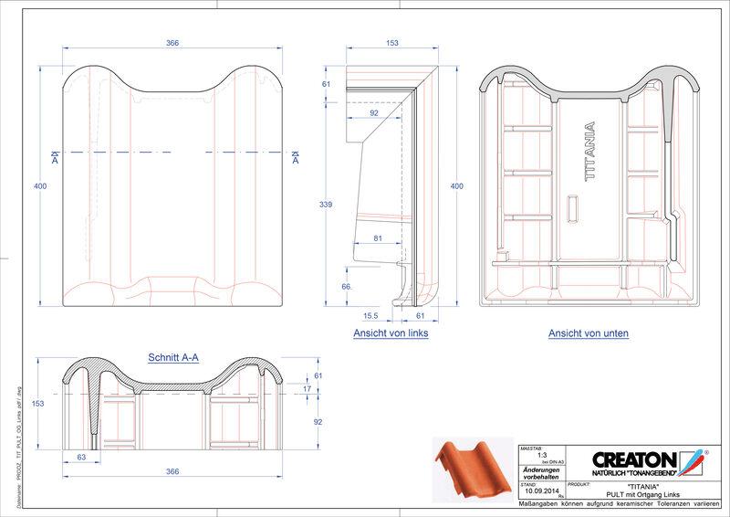 Fiser CAD produs TITANIA Ţiglă laterală stânga cu versant standard PULTOGL