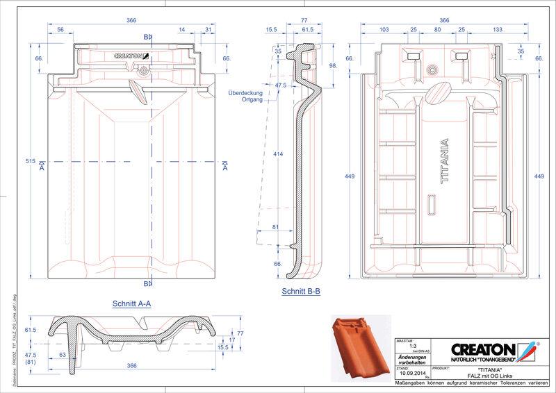 Fiser CAD produs TITANIA Ţiglă laterală de aerisire pentru conexiune la coamă  stânga FALOGL