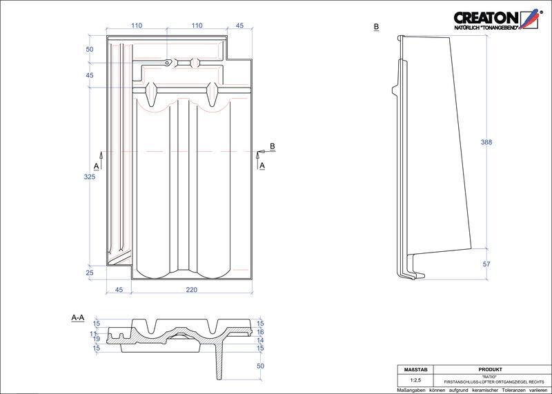 Fiser CAD produs RATIO Ţiglă laterală de aerisire pentru conexiune la coamă  dreapta FALOGR