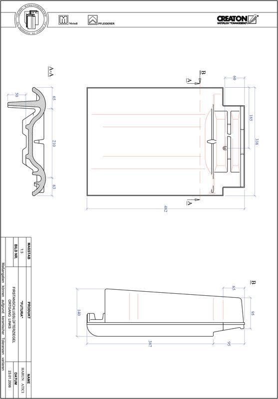 Fiser CAD produs FUTURA Ţiglă laterală de aerisire pentru conexiune la coamă  stânga FALOGL