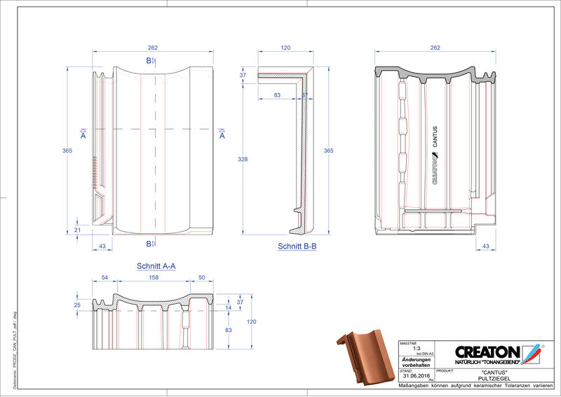 Fisier CAD produs CANTUS Ţiglă cu versant standard  PULT