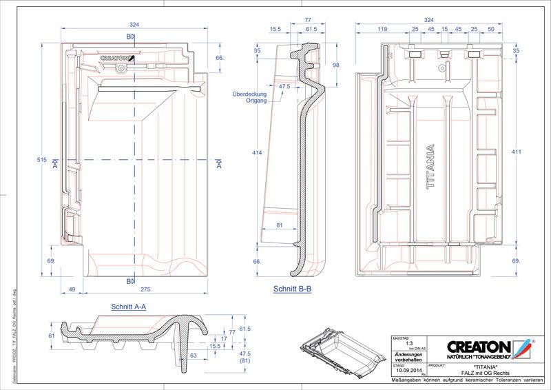 Fiser CAD produs TITANIA Ţiglă laterală de aerisire pentru conexiune la coamă  dreapta FALOGR