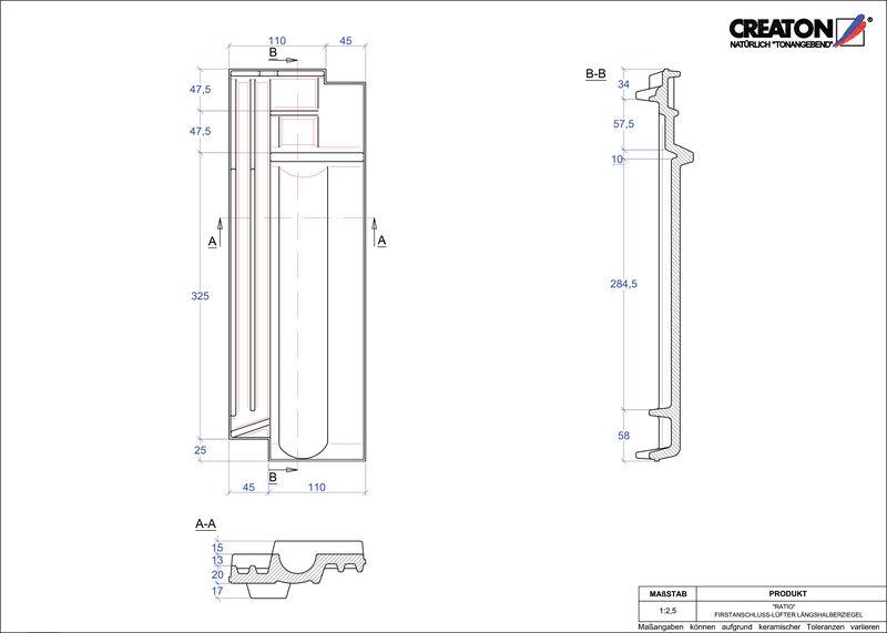 Fiser CAD produs RATIO Ţiglă 1/2 de aerisire pentru conexiune la coama FALLH
