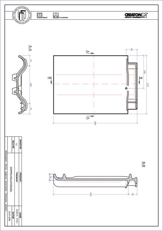 Fiser CAD produs PREMION Ţiglă cu proeminenta dublă DWZ