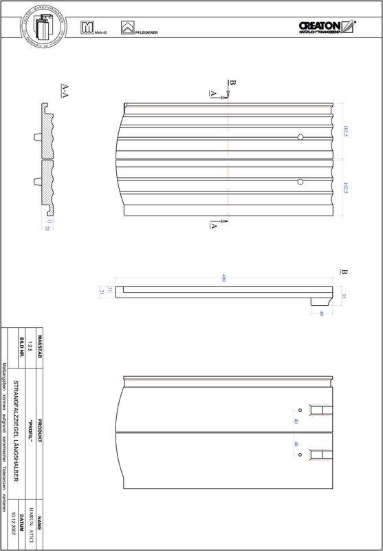 Fiser CAD produs PROFIL Taietura segment  STRANGFALZ-GEWELLT-LH