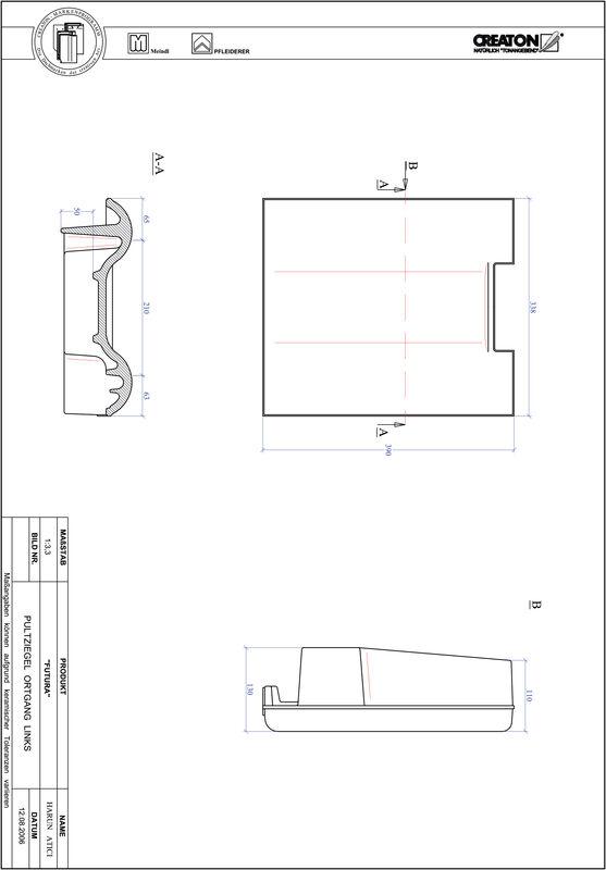 Fiser CAD produs FUTURA Ţiglă laterală stânga cu versant standard PULTOGL
