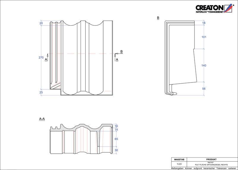 Fiser CAD produs RATIO Ţiglă laterală dreapta cu versant standard PULTOGR