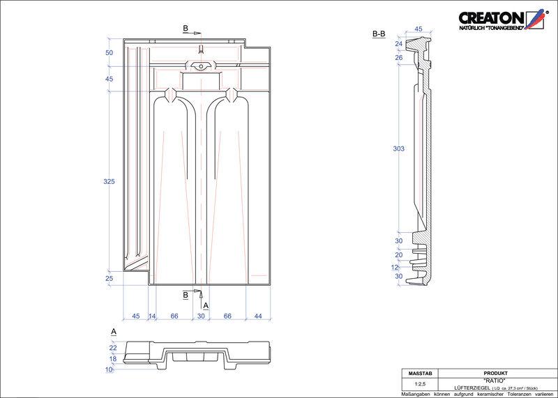 Fiser CAD produs RATIO Ţiglă de aerisire LUEFTZ