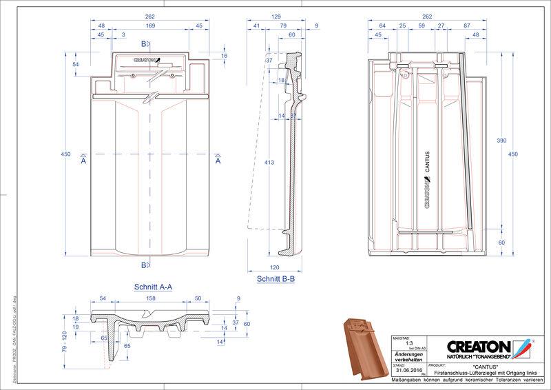 Fisier CAD produs CANTUS Ţiglă laterală stânga de aerisire pentru conexiune la coamă   FALOGL