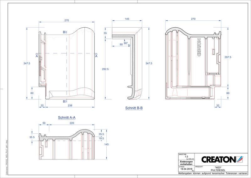 Fiser CAD produs MZ3 Ţiglă cu versant standard PULT