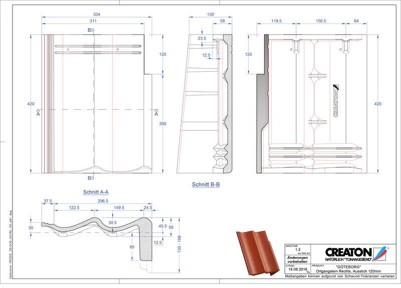 Fiser CAD produs GÖTEBORG  Ţiglă laterală dreapta cu versant standard PultOGR-120