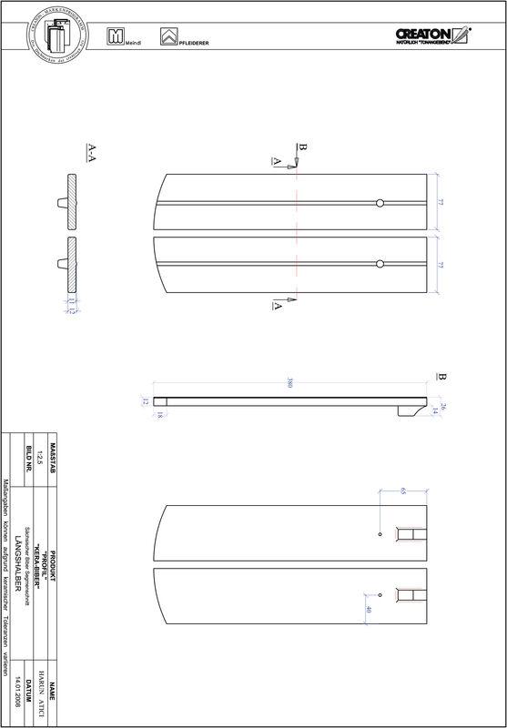 Fiser CAD produs PROFIL Taietura segment  KERA-SAECHS-15-CM-LH