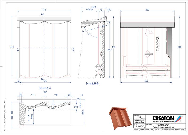Fiser CAD produs GÖTEBORG Ţiglă laterală stânga cu versant standard PultOGL