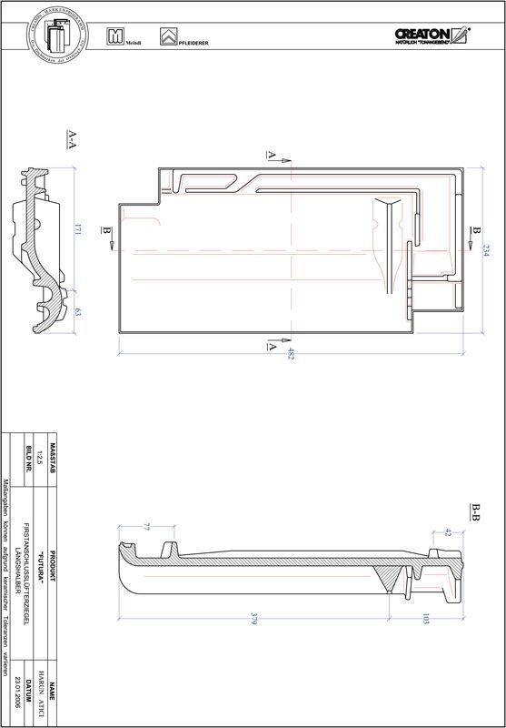 Fiser CAD produs FUTURA Ţiglă 1/2 de aerisire pentru conexiune la coama FALLH