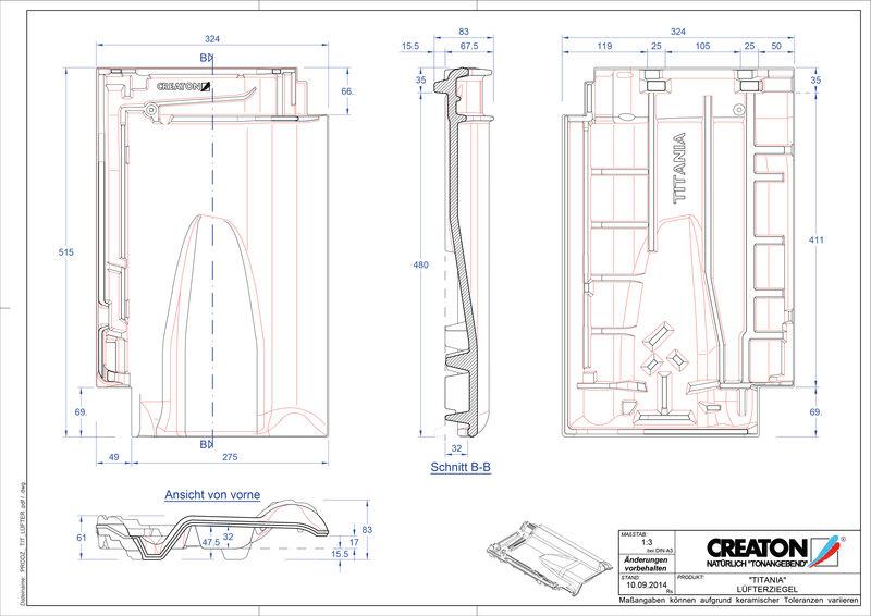 Fiser CAD produs TITANIA Ţiglă de aerisire LUEFTZ