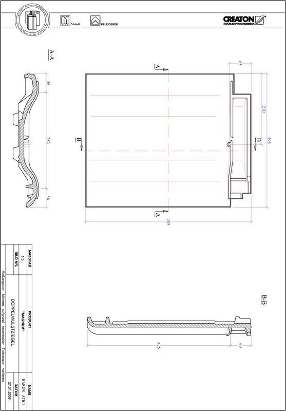 Fiser CAD produs MAGNUM Ţiglă cu proeminenta dublă DWZ