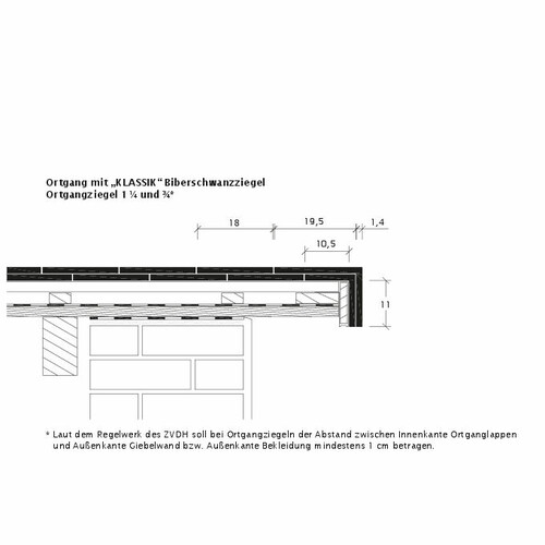 Desen tehnic produs KLASSIK Ţiglă laterală dreapta  KLASSIK-3-4-1-4-Ortgang