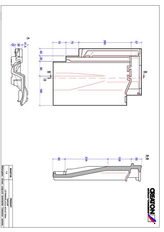 Fiser CAD produs SINFONIE Ţiglă de aerisire LUEFTZ